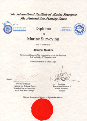 Diploma in Marine Surveying Awarded to Andrew Deakin