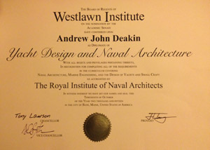 Diploma in Yacht Design and Naval Architecture Awared to Andrew Deakin