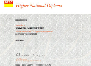 Diploma in Naval Architecture Awared to Andrew Deakin