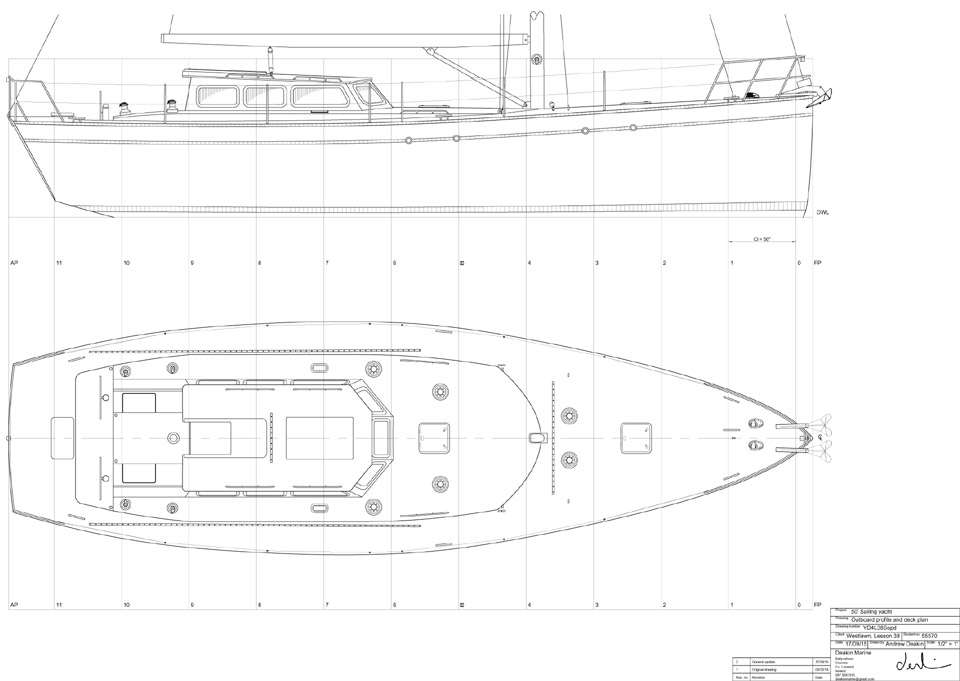 Sail Profile and Deck Plan of a 50' Ocean Cruising Yacht Designed by Deakin Marine